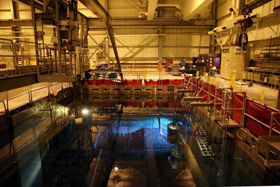 The spent fuel pool is used to store racks of fuel assemblies in the reactor building.